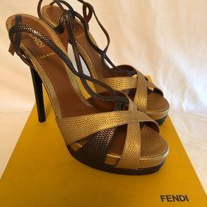 Fendi platform heels in muted brown n muted gold.